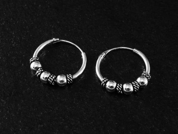 53d2a20c0 925 Sterling Silver Small Bali Balinese Beaded Endless Hoop | Etsy