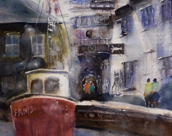 Prague scene - original watercolor (13'' x 19'') / (33 x 48 cm)