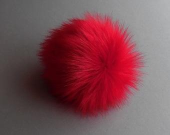 Size S-XL,( Red ) faux fur pom pom 4.7 - 6.60 inches/11- 15 cm