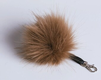 Faux Fur Pom-Pom Bag Charm - Keychain