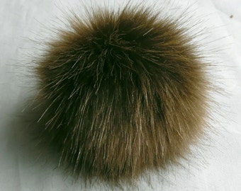 Size XL (cold brown) faux fur pom pom 6.5 inches /16 cm