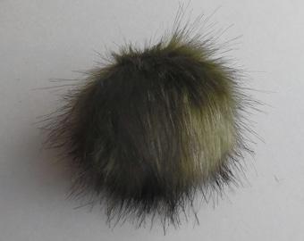 Size XS- XL ( dark Olive ) faux fur pompom 3.5- 6 inches /9- 16 cm