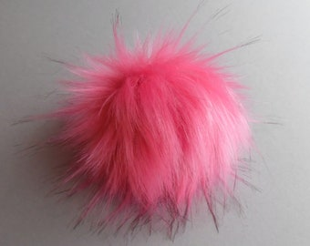 Size S-XL (Flamingo pink) faux fur pom pom 4.5- 6.5 inches/ 11- 17 cm