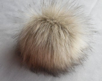 Size M (beige) faux fur pom pom 5 inches/ 13cm