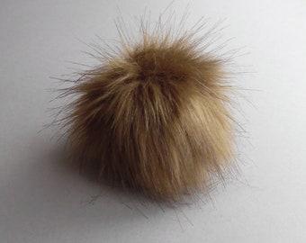 Size XS- XL ( light cold brown ) faux fur pom pom 3.5- 6 inches /9- 16 cm