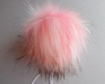 Size M (Light pink flecked) faux fur pom pom 5 inches/ 13cm