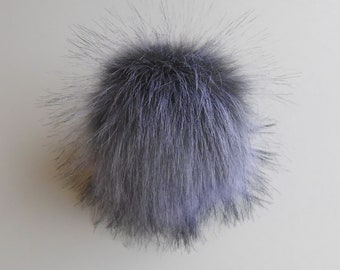 Size L (cold grey purple shade) faux fur pom pom 6 inches/ 15cm