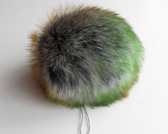 Size M, multi colored ( grey / brown green ) faux fur pom pom 5 inches/13 cm