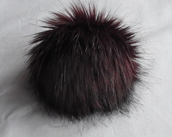 Size XS (red brown wine) faux fur pom pom 4 inches/ 10cm