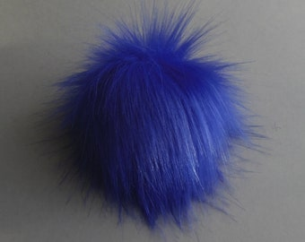 Size L, (Warm Blue) faux fur pom pom 5.5 inches/15 cm