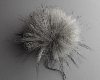Size L (light grey flecked) faux fur pom pom 6 inches/ 15cm