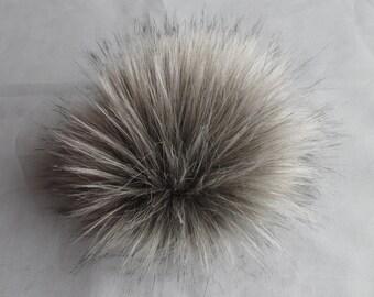 Size XL (Warm grey) faux fur pom pom 7 inches /17 cm