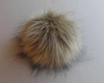 Size S-XXL ( dark beige ) faux fur pom pom 4-7 inches/ 11- 18 cm
