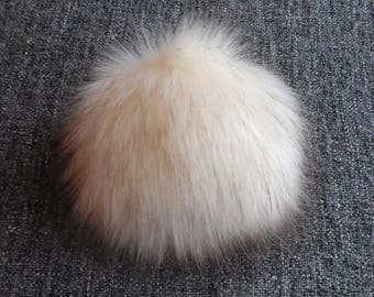 Size S,( dark Cream - brown tips) faux fur pom pom 4.5 inches/12 cm