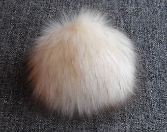 Size XS- XXL ( dark Cream - brown tips) faux fur pom pom 3.5 - 7.5 inches/ 9- 18cm