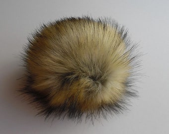 Size S (beige black tips) faux fur pom pom 4.5 inches/ 12cm