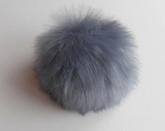 Size M-XL,( bluish Grey ) faux fur pom pom 5 - 6.5 inches/13- 16 cm