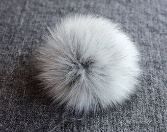 "Size L ( light grey- dark tips) Faux fur pompom 6""/ 15cm"