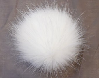 Size M ( high quality )cream white faux fur pom pom 4.5 inches/ 12cm