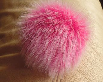Size S (pink - white tips) faux fur pom pom 4 inches 10 cm