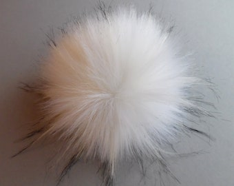 Size M- XL ( cream white- black flecked) faux fur pom pom 5- 6.5 inches / 13- 16 cm