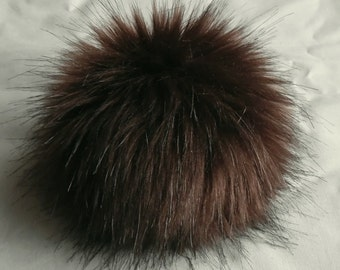 Size M (dark brown) faux fur pom pom 4.5 inches/ 12cm