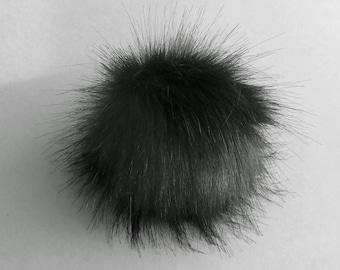 Size XS- XL ( dark anthracite ) Faux fur pompom 3.5- 6 inches / 9- 16 cm