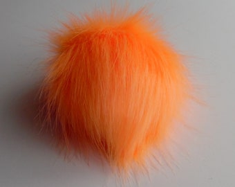 Size XS- XL ( vivid orange ) faux fur pom pom 3.5- 6 inches /9- 16 cm