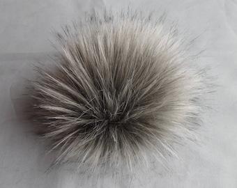 Size M (Warm grey) faux fur pom pom 5 inches/ 12cm