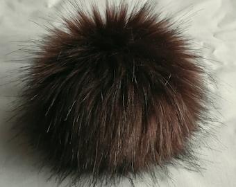 Size XS-XL (dark brown) faux fur pom pom 3.5-6.3 inches/ 9-16 cm