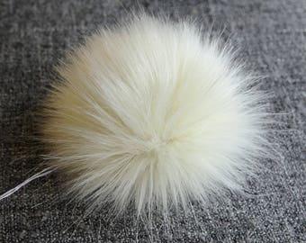 Size S, (Ecru) faux fur pom pom 4.5 inches/11 cm