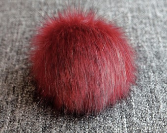 Size XL,( Red wine ) faux fur pom pom 6.5 inches/17 cm