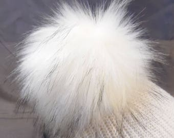 "Size M (the highest quality) cream-white black flecked faux fur pom pom 5"" / 13 cm"