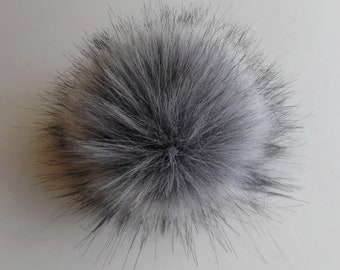 Size M-XXL ( cold grey ) faux fur pom pom 5-7.5 inches/ 13- 18 cm