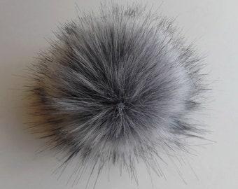 Size M ( cold grey ) faux fur pom pom 5 inches/ 13cm