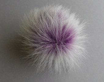 Size S-L (purple - white tips) faux fur pompom 4-5.5 inches /11-14 cm