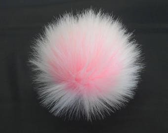 Size M (Baby Pink - white tips) faux fur pompom 4.5 inches /12 cm