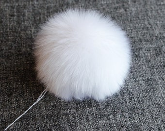 Size M-XL, ( Snow white fluffy ) faux fur pom pom 5- 6.5 inches/13- 16 cm