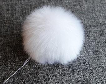 Size M-XL, ( Snow white fluffy ) faux fur pom pom 5- 6 inches/13- 15 cm