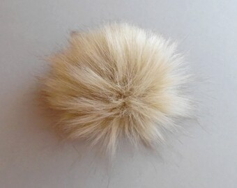 Size S-XL (light beige) faux fur pom pom 4-6.5 inches/ 11- 16 cm