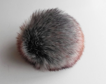 "Size XL, multi colored ( grey / brown, purple ) Faux fur pompom 6""/ 16cm"