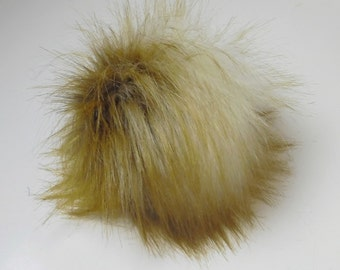 Size XL Rusty/ Cream faux fur pom pom 6.5 inches / 16 cm
