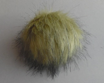 Size S ( light Olive ) faux fur pompom 4 inches /11 cm