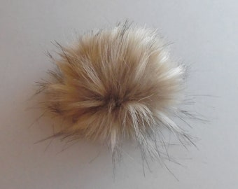Size S-XL (warm beige flecked ) faux fur pom pom 4-6.5 inches/ 11- 16 cm