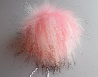 Size XL (Light pink flecked) faux fur pom pom 7 inches /17 cm