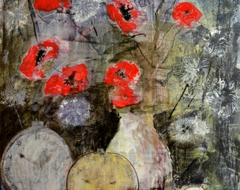 "Poppies and dandelions Watercolor + acrylic 12""x18""/ 33x47cm"