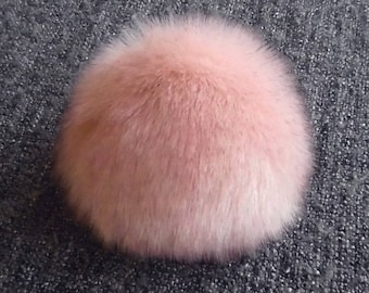 Size XL, ( Retro pink fluffy ) faux fur pom pom 6 inches/16 cm