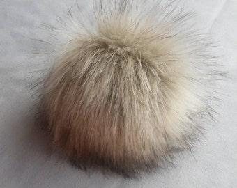 Size S-XL (beige) faux fur pom pom 4-6.5 inches/ 11- 16 cm