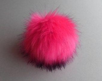Size S-XL,( Fuchsia-black tips ) faux fur pom pom 4.7 - 6.60 inches/13- 17 cm