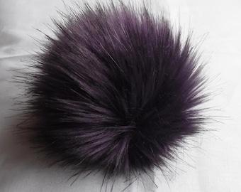 Size XS- XL (eggplant) faux fur pom pom 3.5- 6.3 inches/ 9- 16 cm